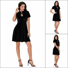 Women Evening Dresses Velvet Cut Out Short Sleeve Fitted Waist Mini Skater Dress