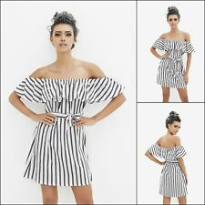 Women Party Dresses Backless Striped Cold Shoulder Ruffle Short Dress Cocktail