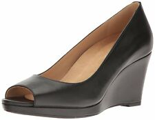 Naturalizer Womens Olivia Leather Open Toe Wedge Pumps