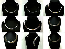 Genuine Solid .925 Sterling Silver Open Choker Necklace - Choice of Nine Designs
