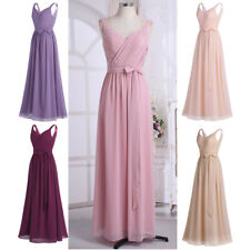 Women Pleated V Neck Sash Bridesmaid Long Ball Gown Evening Cocktail Prom Dress