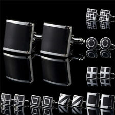 1Pair Black Stainless Steel Men's Cufflinks Shirt Cuff Links Wedding Party LE