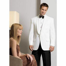NEW White Groom Tuxedos Men Wedding Suits Shawl Lapel One Button Groomsmen