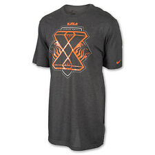 "Nike LeBron James ""X"" Dri-Fit T-Shirt Charcoal/Orange Men's Large XL 2XL 3XL"