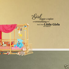 Wall Decal Quote All Girl Sugar And Spice Vinyl Kids Bedroom Decor Art (PC991)