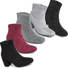 Ladies Womens Mid Low Block Heel Faux Suede Casual Chelsea Ankle Boots Size