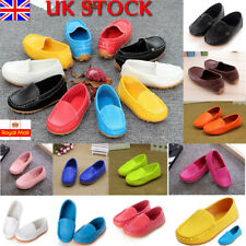 UK Kids Boys Girls Toddler Slip On PU Leather Flat Loafers Casual Boat Shoe Size