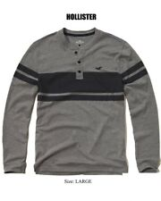Abercrombie & Fitch - Hollister T-Shirt Men's L/S Striped Henley Tee L Grey NEW