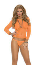 One Size Fits All Long Sleeve Fishnet Cami Top and Matching G-String - 2 Colors