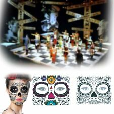 Day Of The Dead Halloween Sugar Skull Temporary Tattoo Face Mask Sticker