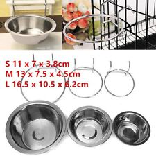 Stainless Steel Hanging Bowl Feeding Bowl Pet Bird Dog Food Water Cage Cup @~
