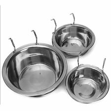New Stainless Steel Hanging Bowl Feeding Bowl Pet Dog Food Water Cage Cup lot &@