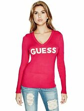 Guess Sweater Women's Logo Stretch Knit Slim Fit V Neck Pullover S Pink NWT