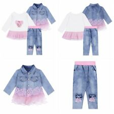 Cute Kids Baby Girls Denim Jacket+T-shirt+Jeans Pants Lace Outfit Set Casual New