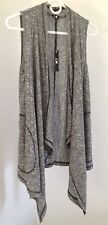 NWT Cable & Gauge Women's Sweater Vest Black Gray White Tweed Subtle Stripe M