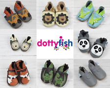 Dotty Fish Boys Soft Leather Baby and Toddler Shoes With Non-slip Suede Soles