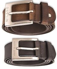 """NEW MILANO MENS 1.5"""" REAL FULL GRAIN LEATHER BELTS WITH SILVER BUCKLE 2920"""