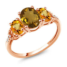 2.14 Ct Oval Whiskey Quartz Yellow Sapphire 10K Rose Gold Diamond Accent Ring