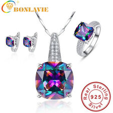 Round Real Rainbow Mystic Colorful Topaz Pendant Necklace/Ring/Earring For