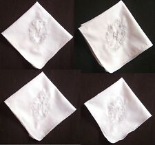 Monogrammed White Handkerchief Cotton Hanky Gift for Women Embroidered Initial