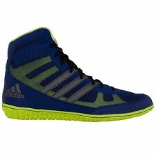 Adidas Mat Wizard 3 Navy, Silver & Lime Green wrestling shoes