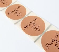 45MM ROUND LABELS BROWN KRAFT HANDMADE WITH LOVE LABELS BUSINESS STICKERS