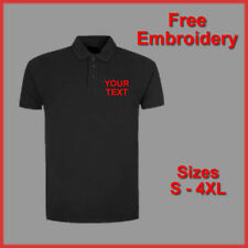 PERSONALISED BUSINESS WORK WEAR TEXT EMBROIDERED POLO SHIRT BLACK NAVY GREY