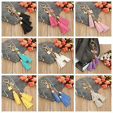 TRIPLE TASSEL KEYRING BAG CHARM VARIOUS COLOURS