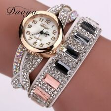 Duoya Brand Fashion Bracelet Wristwatch Quartz Watch Women Crystal Stone Gold...