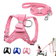 Soft Suede Leather Puppy Dog Harness Lead Leash Set Cute Pet Harness Vest