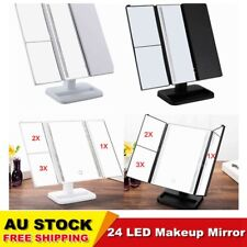 1/2/3X Magnifying 24 LED Touch Screen Makeup Mirror Tabletop Lighted Cosmetic AU