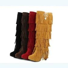 New Womens Faux Suede Tall Boots High Heels Fringe Tassels Knee Boots Sizes 4.58