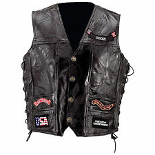 Men's Motorcycle Vest  Genuine Buffalo Leather by Diamond Plate™ 14 Patches New