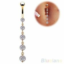 Dangle Crystal 316L Surgical Steel Navel Belly Bar ~ Free Gift Pouch ~ UK Seller