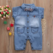 Toddler Baby Boys Clothes Denim Romper Short Sleeve Pockets Playsuit Tie Outfits