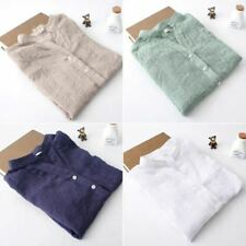 Womens Long Sleeve Cotton Linen Sheer Button Down T-Shirt OL Casual Blouses Top