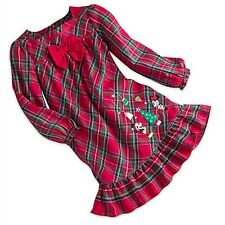 Disney Store Mickey Minnie Mouse Girl Plaid Nightgown Christmas Christmas Outfit