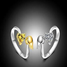 Size Fashion Engagement Women Angel Wings Ring Love Heart Adjustable Ring