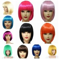 US Women's Sexy Full Bangs Wig Short Wig Straight BOB Hair Cosplay Party Wigs