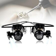 1x Binocular Glasses Type 20X Watch Jewellery Repair Magnifier with LED Light MW