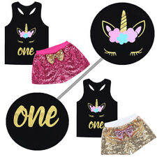 1st Birthday Outfit Girls Baby Party Dress T-shirt Tops+Hot Pants Outfit 2Pc Set
