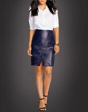 NWT RALPH LAUREN Womens Leather Blue Navy Faux-Wrap Knee Pencil Skirt 4 8 $598