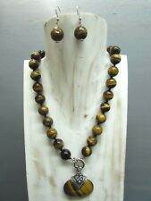 """19"""" Knotted 14mm Tigers Eye Round Bead Necklace Pendant Handmade Free Earring"""