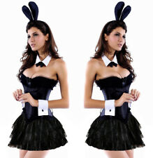 Ladies Bunny Costume Sexy Playful Fancy Dress Rabbit Cosplay Corset Skirt Set
