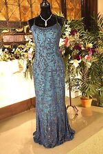 Je Matadi Long Silk Beaded Dress Blue full length gown open back formal prom WOW