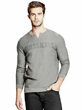 GUESS Sweater Men's Long Sleeve 100% Cotton Knit Logo Pullover Top XL Grey NWT
