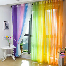 US Solid Sheer Curtain Window Curtains Metal Eyelet Voile Panel Valances Scarf