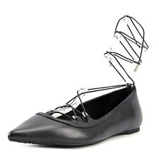 MICHAEL Michael Kors Womens Tabby Leather Pointed Toe Ankle Strap Ballet Flats