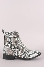 Python Print Studded Buckled Strap Ankle Boots
