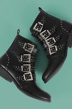 Studded Buckled Strap Ankle Boots